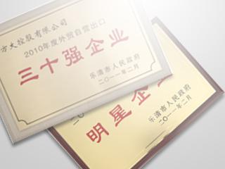 方大控股有限公司在乐清经济工作会议上获得了许多荣誉